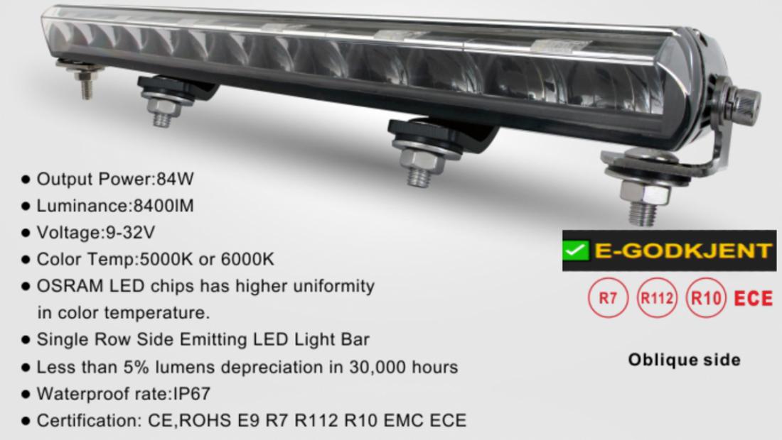 Delling E46 54 cm Ledbar med DRL Black Edition